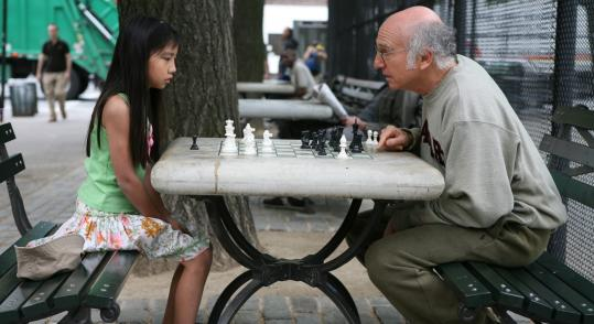 "Jessica Miglio/Sony Pictures ClassicsLarry David (with Willa Cuthrell Tuttleman) plays a cynical genius in ""Whatever Works,'' based on a script Woody Allen wrote for Zero Mostel three decades ago."