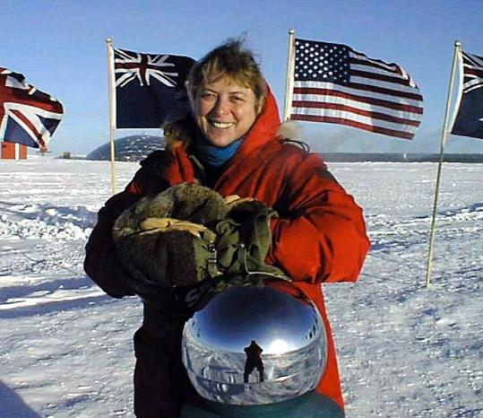 Dr. Jerri Nielsen, shown at the ceremonial South Pole in 1999, died Tuesday in Southwick. Her struggle against breast cancer during a winter at the South Pole captivated the world.