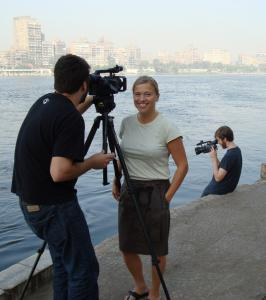"""Plymouth filmmaker Beth Murphy in Cairo making """"The Promise of Freedom'' with Kevin Belli (left) and Sean Flynn."""