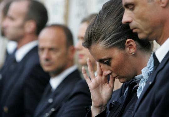 Air France employees attended the funeral yesterday in Rio de Janeiro of Lucas Gagliano, a victim of Flight 447's crash.