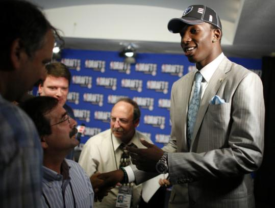 Hasheem Thabeet, the No.2 pick, capped off his busy night as a member of the Grizzlies.