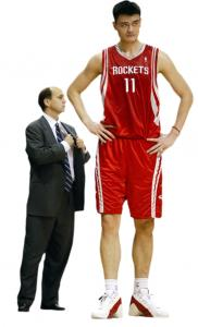 Height appears to confer an advantage in everything from climbing the academic ladder to winning an Oscar, the author suggests. Pictured, the Houston Rockets' Yao Ming (7 feet, 6) and former coach Jeff Van Gundy (5 feet, 9).