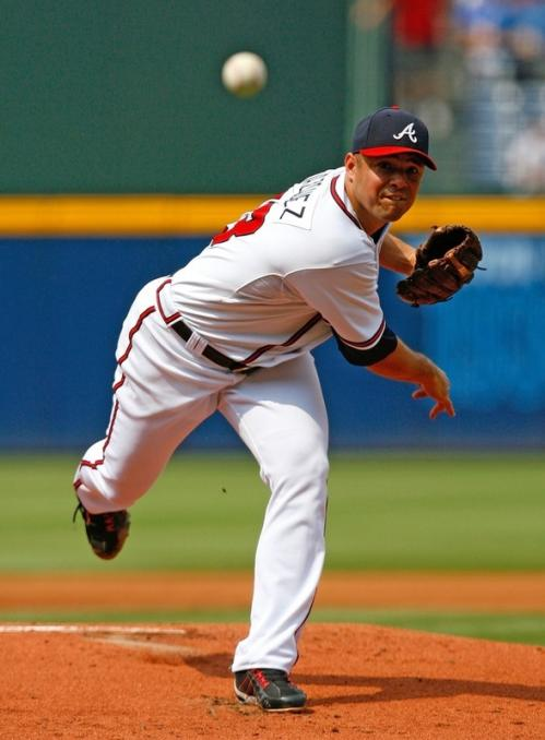 Javier Vazquez (33) of the Atlanta Braves pitches against the Boston Red Sox.