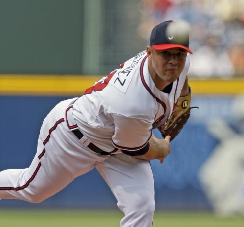 Atlanta starter Javier Vazquez works in the first inning.