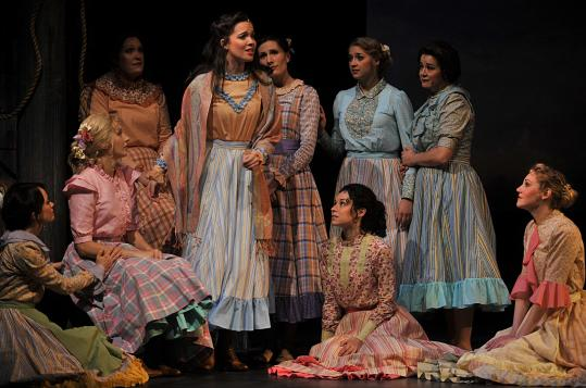 "Patricia Noonan (center) leads the Barrington Stage Company production of ""Carousel,'' a Rodgers and Hammerstein musical set in a New England fishing village."