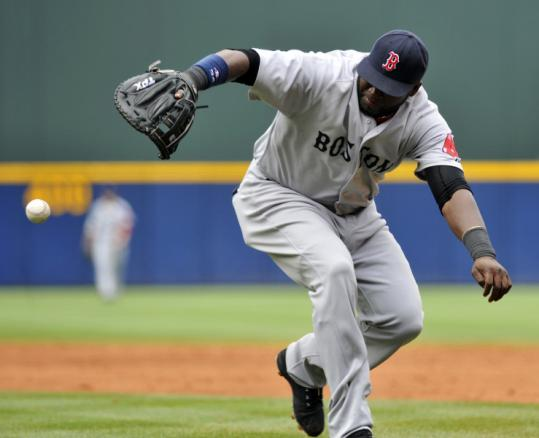 David Ortiz had an eventful day at first base, being charged with an error when he failed to field a ball in the third inning.