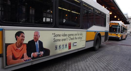 Mayor Thomas M. Menino appears in a public service note about video game ratings running on MBTA buses.