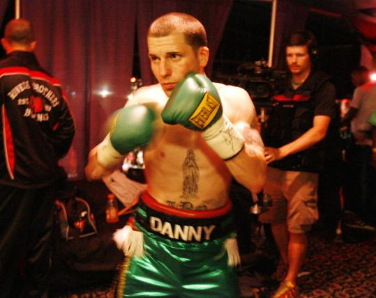 Framingham's Danny O'Connor warms up before his bout Saturday night against Sebastian Hamel in Boston. The 5-foot-9, 135-pound junior welterweight has a 7-0 record since turning pro in September.