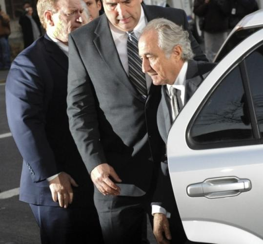 Bernard Madoff, shown here as he arrived at federal court in New York in March, says his massive swindle was a solo act.