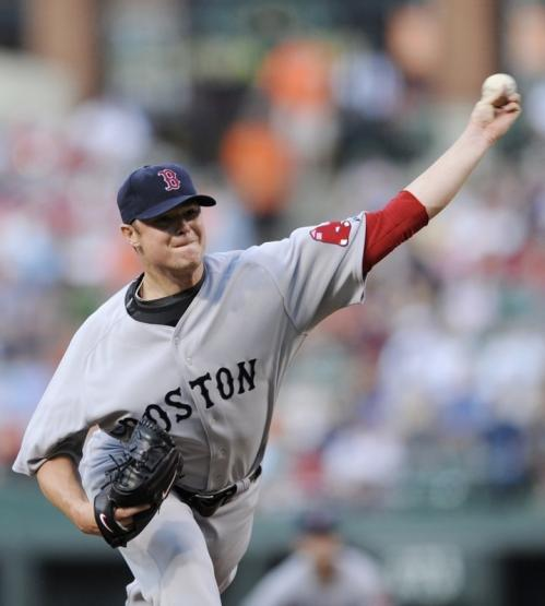 Red Sox starter Jon Lester delivers a pitch against the Baltimore Orioles.