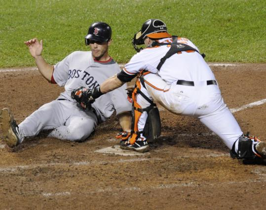 With the Sox leading, 10-6, in the eighth, Matt Wieters tagged out George Kottaras, a run that became crucial in the Sox' collapse.