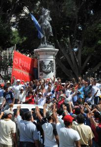 There were several demonstrations for and against the new leaders in Honduras yesterday, including one backing ousted President Manuel Zelaya in Tegucigalpa.