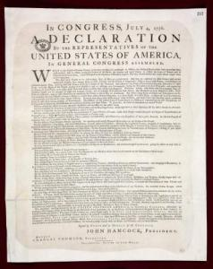 A first copy of the Declaration of Independence was found at Britain's National Archives, officials said yesterday.