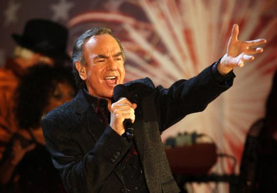 Neil Diamond made several sparkling appearances at the Esplanade last night to entertain the crowd.