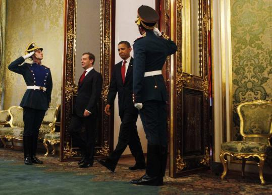 Presidents Obama and Dmitry Medvedev, at the Kremlin, agreed to weigh threats posed by Iran and North Korea.