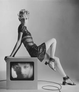 """Twiggy in Yves Saint Laurent'' (1967), photographed by Bert Stern, from ""The Model as Muse'' exhibit in New York."
