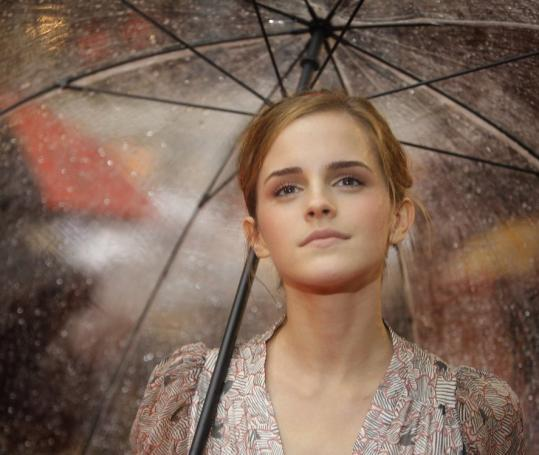 Emma Watson arrives at yesterday's screening in London.