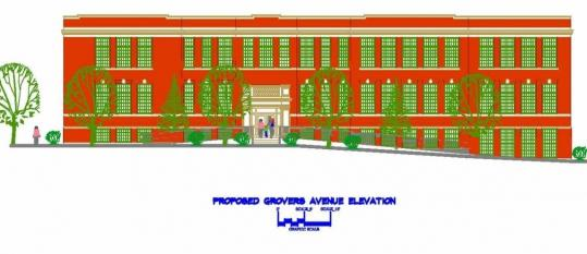 An artist's rendering shows the Dalrymple School, built in 1920, after planned renovations to convert the Winthrop building into 27 affordable housing units for senior citizens.