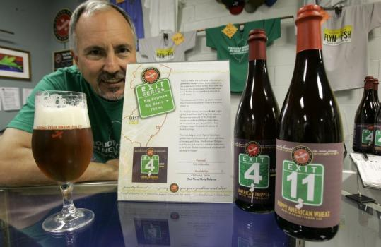 Gene Muller, founder and president of Flying Fish Brewing Co., displayed bottles of Exit 4 and Exit 11 beers at the brewery's headquarters in Cherry Hill, N.J.