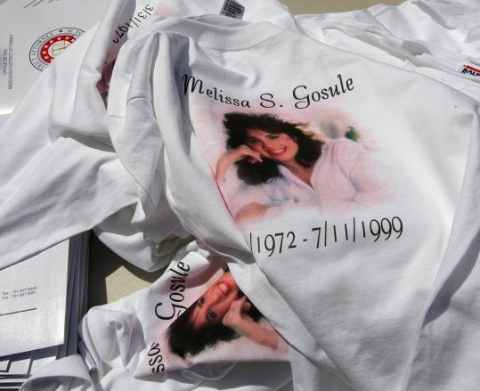 Melissa Gosule, pictured on a supporter's T-shirt at a rally for Melissa's Bill, was killed in 1999 by a repeat offender.