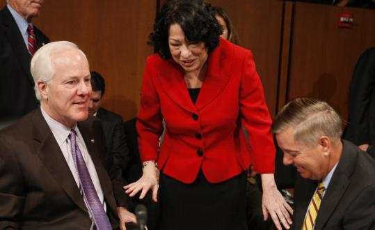 Supreme Court nominee Sonia Sotomayor chatted with Senators John Cornyn of Texas (left) and Lindsey Graham of South Carolina during a break in her confirmation hearing yesterday.