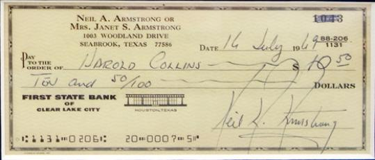 This check has a rare autograph from Neil Armstrong, written on the day of the moon launch. It goes on the auction block to coincide with the 40th anniversary of the lunar landing.