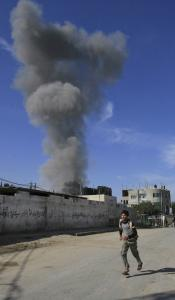 In January, smoke rose from an explosion caused by Israeli military operations in Rafah in the southern Gaza Strip. More than 1,400 Palestinians were killed in fighting in last winter's Gaza War, a three-week offensive.