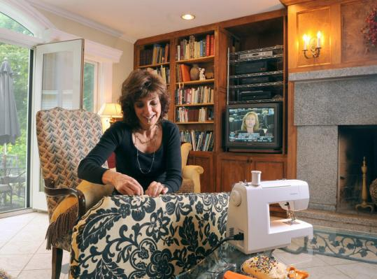Marion Syversen saves by sewing and adorning her home with items from various sales, salvage stores, and eBay.