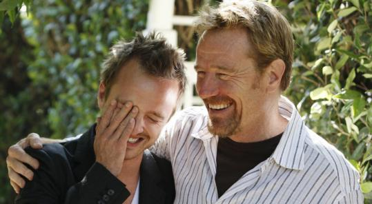 "Aaron Paul (left) and Bryan Cranston both received Emmy nominations for their work in ""Breaking Bad.'' The series was also nominated for best drama."