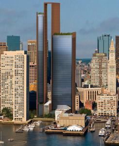 A rendering from the Chiofaro Co. shows the two glass skyscrapers.