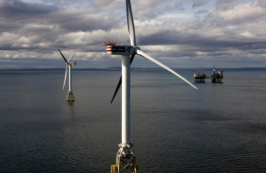 Beatrice Wind Farm sits in water 150 feet deep 12 miles off Scotland's. Some US energy developers say the farther a project is from shore, the more feasible it will be to get approved.