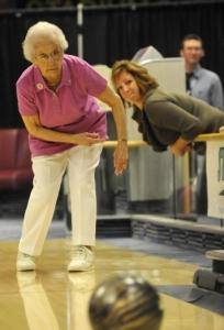 Emma Hendrickson, 100, of Morris Plains, N.J., played at the National Bowling Stadium in Reno.