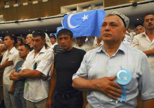 More than 5,000 ethnic Uigurs gathered in Kazakhstan&#8217;s largest city, Almaty, yesterday to protest against recent violence in the Chinese province of Xinjiang.