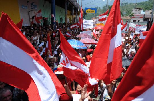 Liberal Party supporters protested the ouster of Manuel Zelaya yesterday in Santa Barbara, a city northwest of Tegucigalpa.