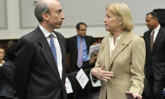 Gary Gensler, commodity futures trading chief, and SEC boss Mary Schapiro, made the case for broad derivatives rules.