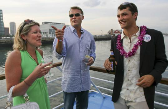 From left: guest Elizabeth Crowley, Scott Zolak, and Play Ball! Foundation board member Ian Franke last night.
