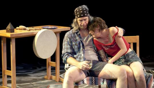 "JAXON WHITERobert Walsh and Heather Girardi in a scene from ""Walking the Volcano'' at the Vineyard Playhouse."