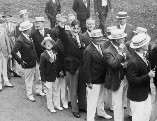 Ernst Hanfstaengl, Harvard grad and Nazi foreign press chief, gives a salute in Cambridge in 1934 at his 25th reunion.