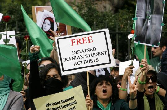 Protesters outside the Iranian Embassy in London yesterday demanded an end to Iran's clampdown on opposition activists.