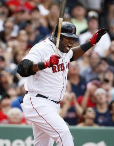David Ortiz shows his frustration with yet another ball put into the air for an out, this time a pop to short in the sixth.