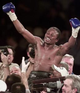 Vernon Forrest, celebrating his unanimous decision win over Shane Mosley for the WBC welterweight title in New York.
