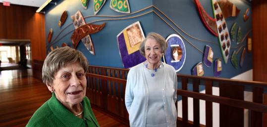 Buyers Natalie Wolf (left) and Phyllis Robbins at NewBridge on the Charles.