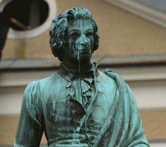 A statue of Mozart in Salzburg, Austria, where newly found works will be played for the first time as Mozart compositions.