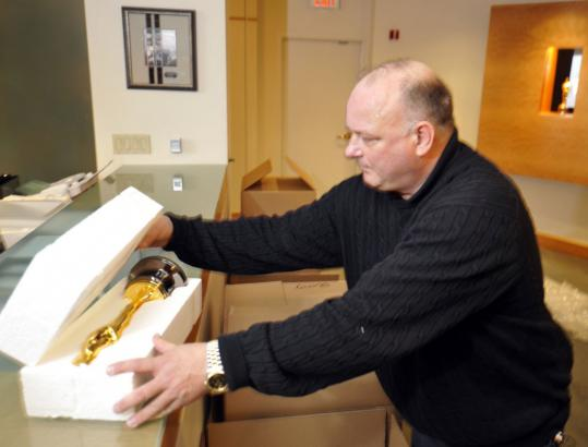 Steve Miessner packaged Oscar statuettes for transport to the Kodak Theatre in Los Angeles in preparation for the 81st Academy Awards this year.