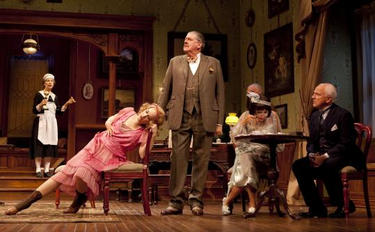 "From left: Lizbeth MacKay, Katie Finneran, Edward Herrmann, Andrea Martin, and John Rubinstein in ""The Torch-Bearers'' at Williamstown Theatre Festival."