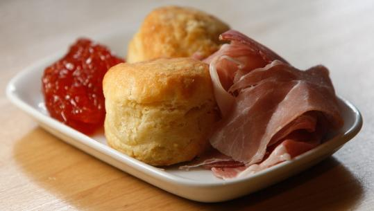 At Hungry Mother in Kendall Square in Cambridge, country ham with angel biscuits and pepper jelly.