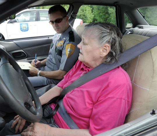 Joan Sternberg, who turns 77 on August 8th, prepares to take a road test to renew her New Hampshire license.