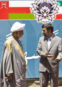 Iranian President Mahmoud Ahmadinejad (right) spoke with Oman&#8217;s sultan, Qaboos bin Saeed, during a welcoming ceremony in Tehran ahead of today&#8217;s inauguration.