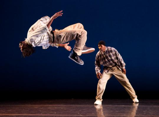 "Kyle Clark (in midair) and Raphael Xavier in Rennie Harris's ""P-Funk.''"