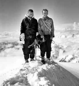 Bradford Washburn, right, after summiting Mount Lucania with Bob Bates.